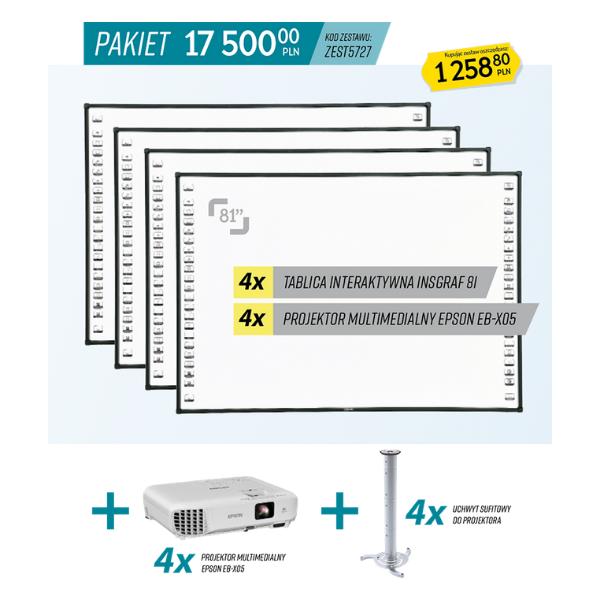 Pakiet Aktywna Tablica, 4 tablice interaktywne i 4 projektory