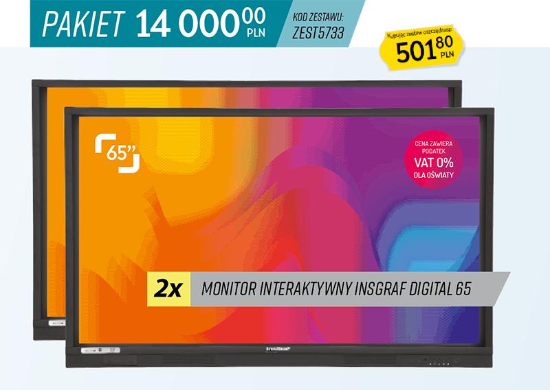 Zestaw 2 x monitor interaktywny insgraf Digital 65 Aktywna Tablica 2021
