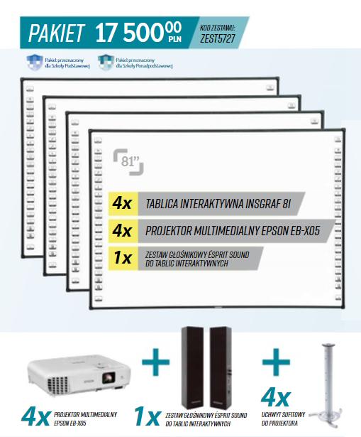 Zestaw 4 tablic interaktywnych, projektor i głośniki