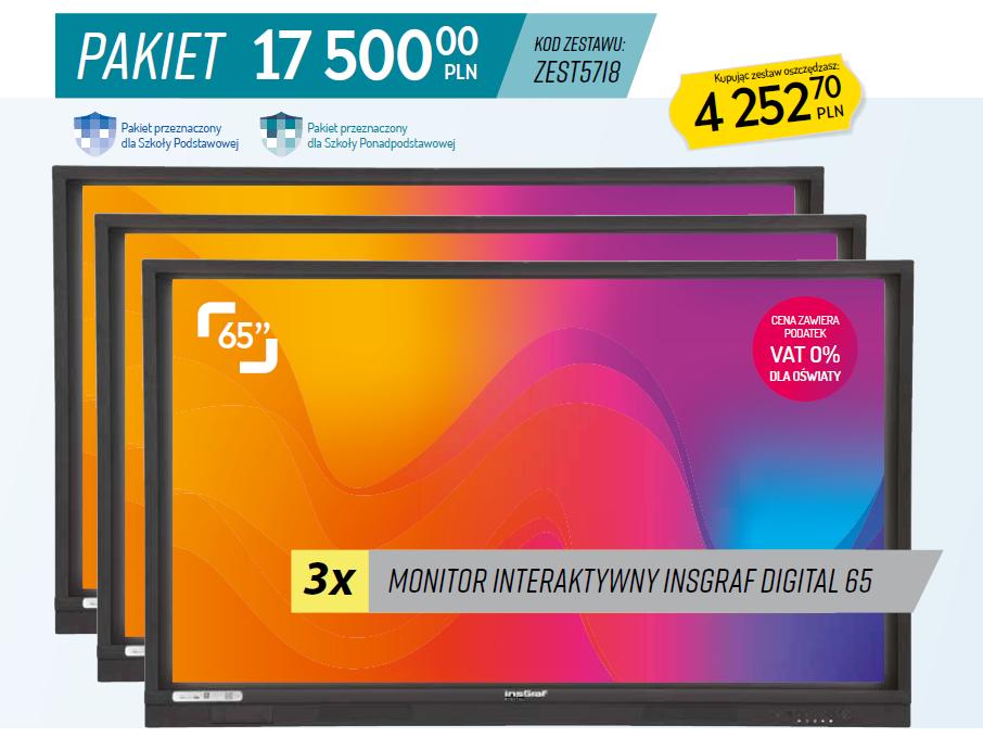 Aktywna Tablica pakiety, 3 x monitor interaktywny 65