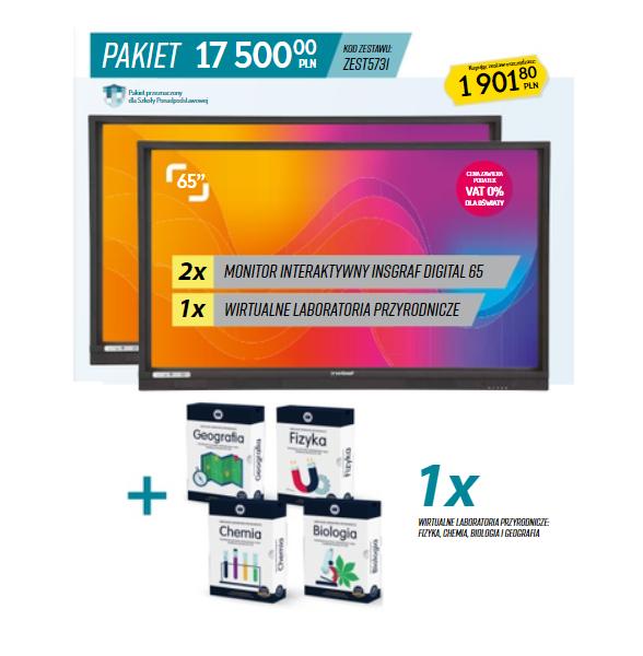 Pakiet pomocy Aktywna Tablica- 2 x monitor interaktywny z wirtualnym laboratorium